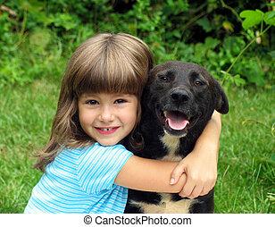 girl, chien