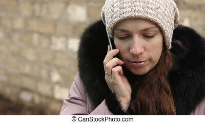 girl, conversation, hiver, jeune, téléphone, vêtements