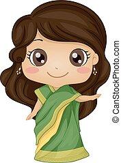 girl, costume indien