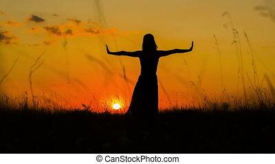 girl, coucher soleil, silhouette, yoga