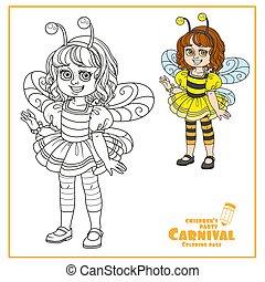 girl, couleur, esquissé, abeille, mignon, déguisement, coloration, page