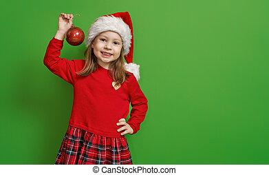 girl, couleur, santa chapeau, fond