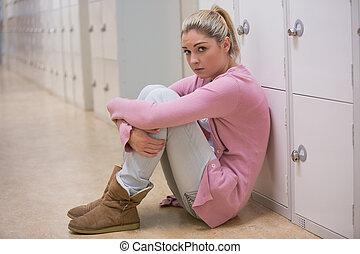 girl, couloir, séance, désordre