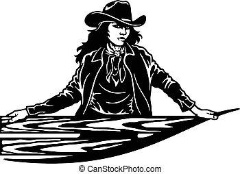 girl, coupure, silhouette, prêt, ouest, art, svg, cricut, sauvage, vecteur, fichiers, agrafe, cowgirl