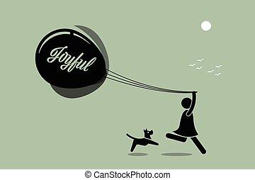 girl, courant, balloon