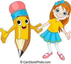 girl, crayon