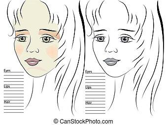 girl., croquis, maquillage, gabarit, portrait