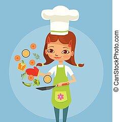 girl, cuisine, caractère