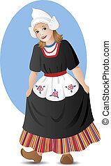 girl, déguisement, national, hollandais