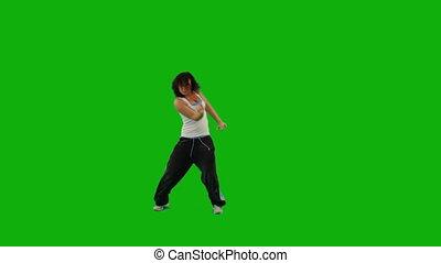girl, danse, hip-hop., vert, écran
