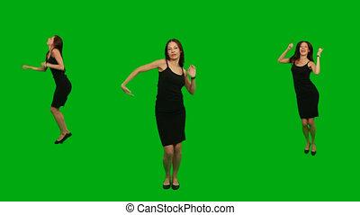 girl, danser., vert, écran, beau