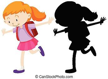 girl, debout, position, heureux, sien, silhouette