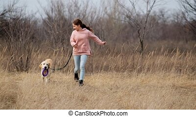 girl, dehors, courant, espiègle, chien