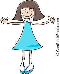 girl, dessin animé, illustration, heureux