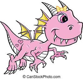 girl, dragon, mignon, vecteur, rose