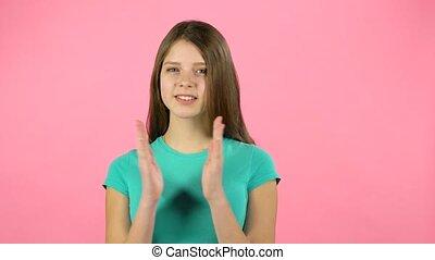 girl, elle, applaudir, studio, mains, rire