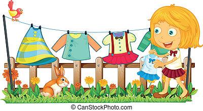girl, elle, jardin, vêtements accrochants
