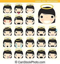 girl, emoticons, ange