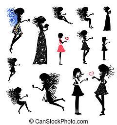 girl, ensemble, fée