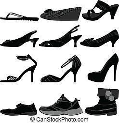 girl, femme, chaussures, femme, chaussures