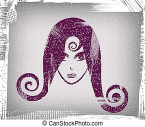 girl, figure, (grunge)
