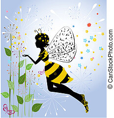 girl, fleur, fée, abeille