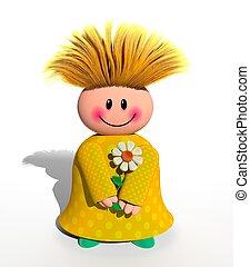 girl, fleur, heureux