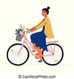 girl, fleurs, vélo