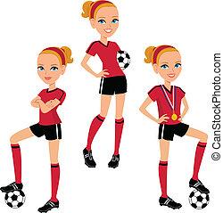 girl, football, poses, dessin animé, 3