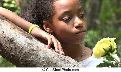 girl, forêt, délassant, africaine