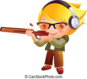 girl, fusil fusillade