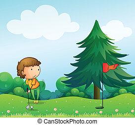 girl, golf, jouer, colline