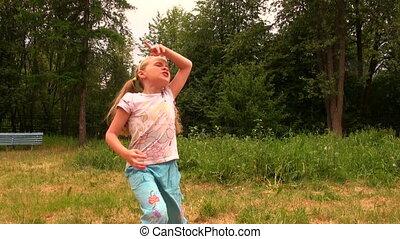 girl, herbe, danse