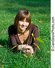 girl, herbe, vert, jeune