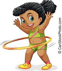 girl, heureux, hula cerceau, jouer