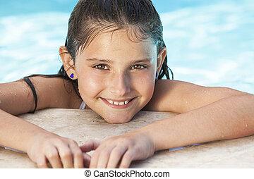 girl, heureux, natation, enfant, piscine