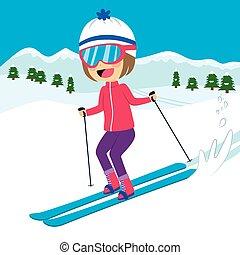 girl, heureux, ski