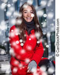 girl, hiver, neige