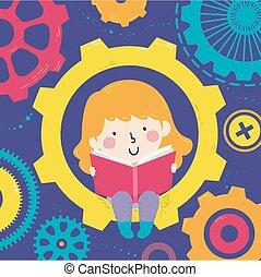 girl, illustration, engrenages, livre, lire, gosse