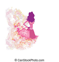girl, illustration, mode, achats