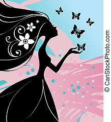 girl, illustration, papillon, vecteur, beau