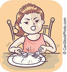 girl, impatience, illustration, gosse