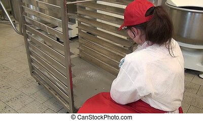girl, industriel, equipment., lave