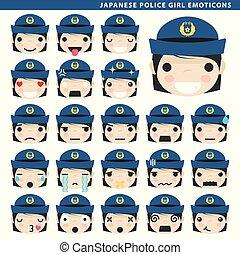 girl, japonaise, police, emoticons