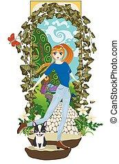 girl, jardin, top secret