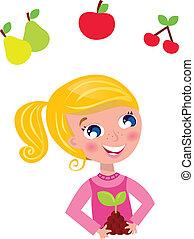 girl, jardinier, heureux, costume., vecteur, blonds, illustration., rose