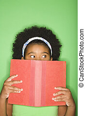 girl, jeter coup oeil, sur, book.
