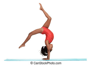 girl, jeune, gymnastique