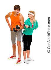 girl, jeune, isolé, homme, fitness, haltère, levage, blanc