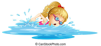 girl, jeune, natation